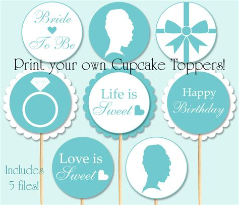 breakfast at tiffany s photo booth props printable breakfast at tiffany s cupcake toppers 10 designs for