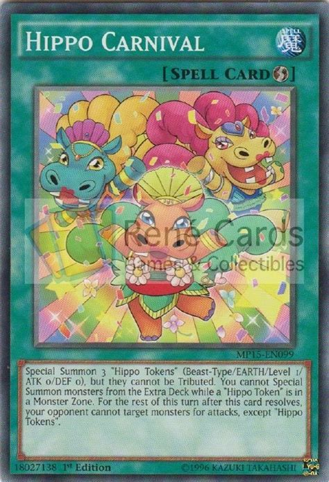 Yugioh Hippo Carnival Tdil En053 Common Yu Gi Oh hippo carnival 1st edition mega tin 2015 mega pack rene s cards collectibles