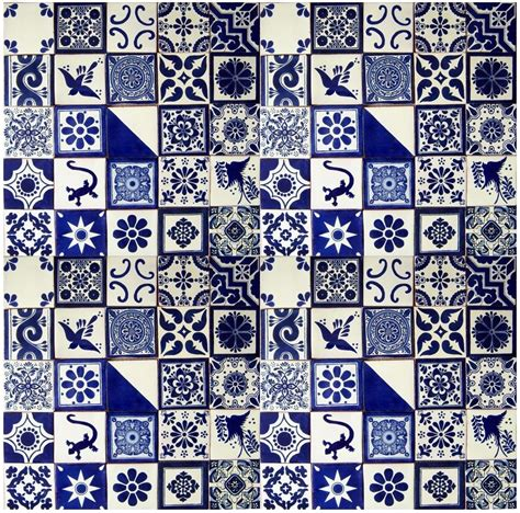 Handmade Mosaic Tiles - blue white mexican tile handmade talavera backsplash