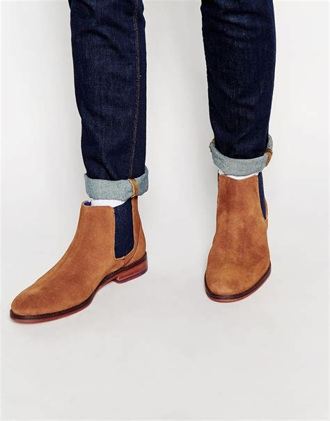 ted baker camroon suede chelsea boots in brown for lyst