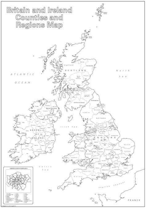 printable maps uk counties large britain and ireland counties and regions colouring