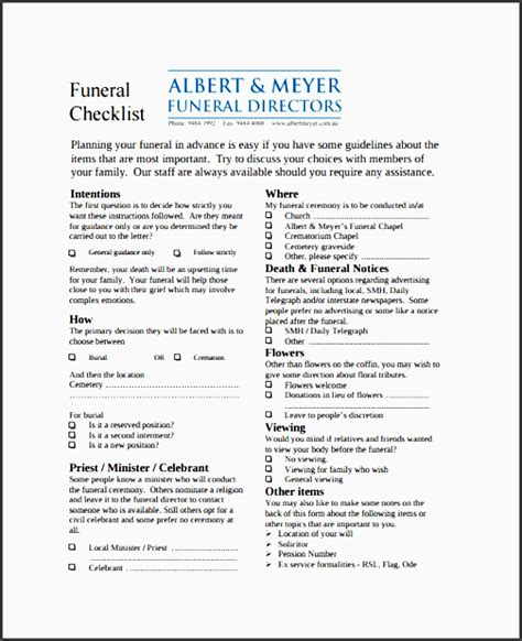 4 Funeral Planning Checklist Layout Sletemplatess Sletemplatess Funeral Planning Template