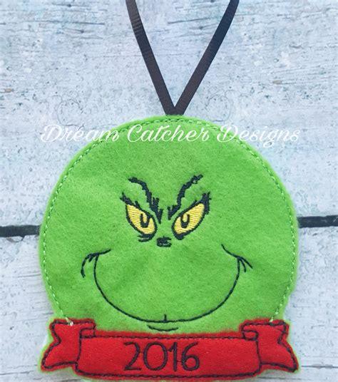 felt grinch pattern ith grinch felt christmas ornament embroidery design
