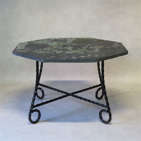 Slate Top Dining Table by Octogonal Wrought Iron And Slate Top Dining Table