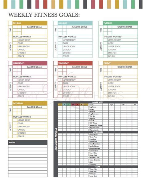 workout checklist template weekly fitness goals workout checklist printable pdf