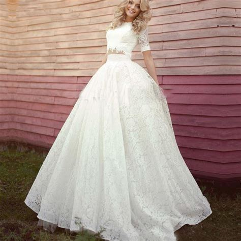Size Two Wedding Dresses by 2017 Vintage Lace Two Pieces Wedding Dresses High Neck