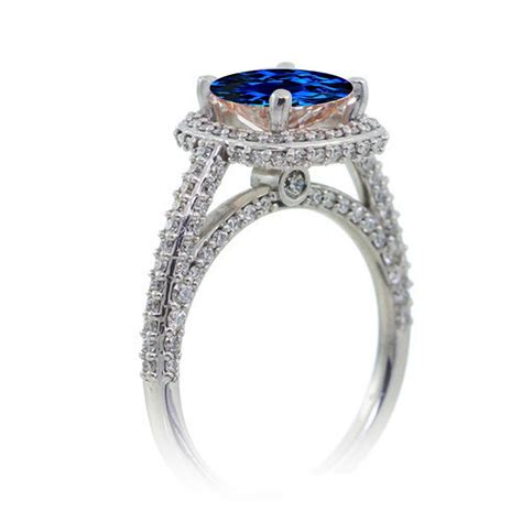 1 5 carat cushion cut designer sapphire and halo
