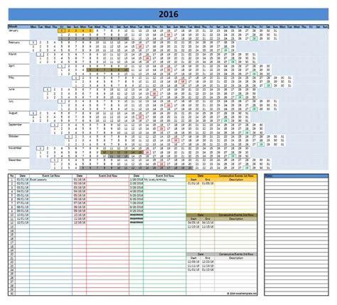 landscape layout excel 2016 linear calendar excel template agenda organizador