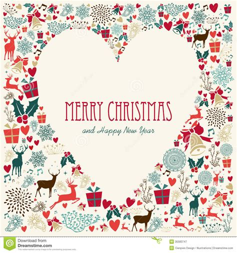 vintage merry christmas love heart card stock vector illustration  holiday fabric
