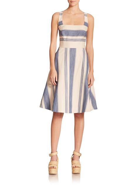 Rima Stripe Blue polo ralph striped fit flare dress in blue hton stripe lyst