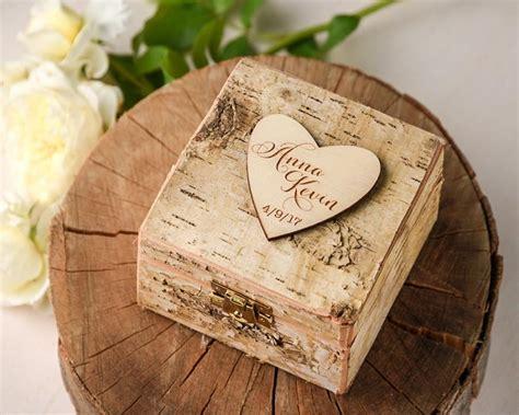wedding box wood rustic wedding ring box brich bark box engraved