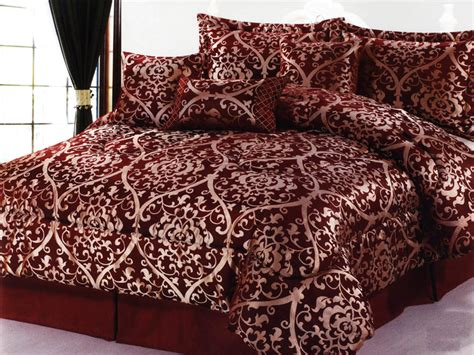 burgundy and gold comforter set 7 pc luxurious majestic royal floral jacquard comforter