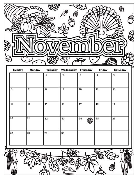 november calendar coloring pages free download coloring pages from popular adult coloring