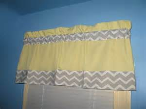 Lined handmade yellow with grey white chevron window curtain valance
