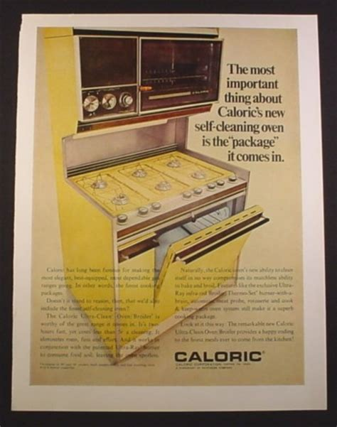 Gold Kitchen Appliances by Magazine Ad For Caloric Ultra Clean Oven Broiler Harvest