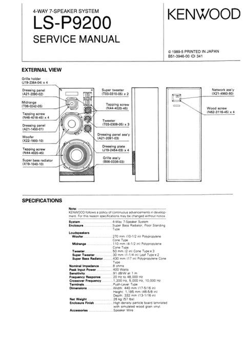 KENWOOD LS-P9200 Service Manual - PDF File Download