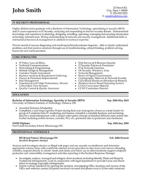 Resume Template For It by Professional Resume Templates Cv Template Resume Exles