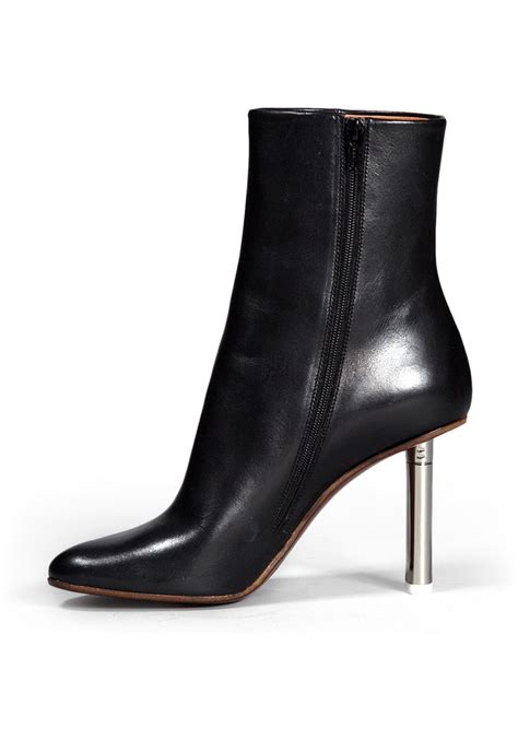 Shoe La La Silver Ankle Boots For by Vetements Silver Heel Ankle Boots In Black Leather
