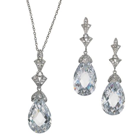 earring pendants jewelry lydia deco swarovski necklace and earring set