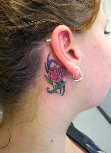 tattoo behind ear military rose behind ear tattoo