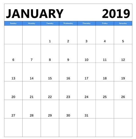 January 2019 Free Download Calendar Pdf Excel Word 2019 Monthly Calendar Template Excel