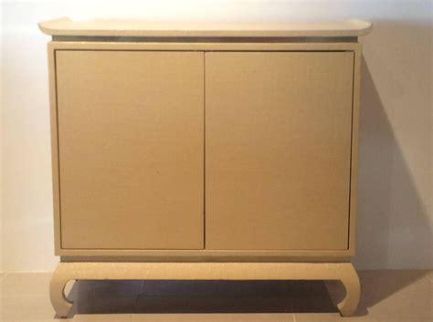 pagoda grasscloth wrapped linen brass vintage trim cabinet
