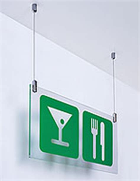 Ceiling Hanging Signs by Cable Display Components Suspended Wire Systems For Signage
