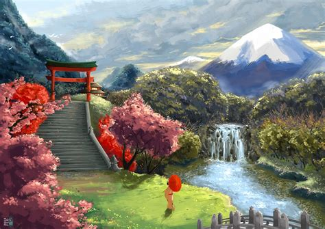 art asia umbrella landscape geisha cherry wallpaper 1920x1357 210216 wallpaperup