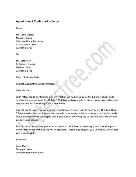 appointment letter confirmation sle a letter of appointment is the confirmation about a in