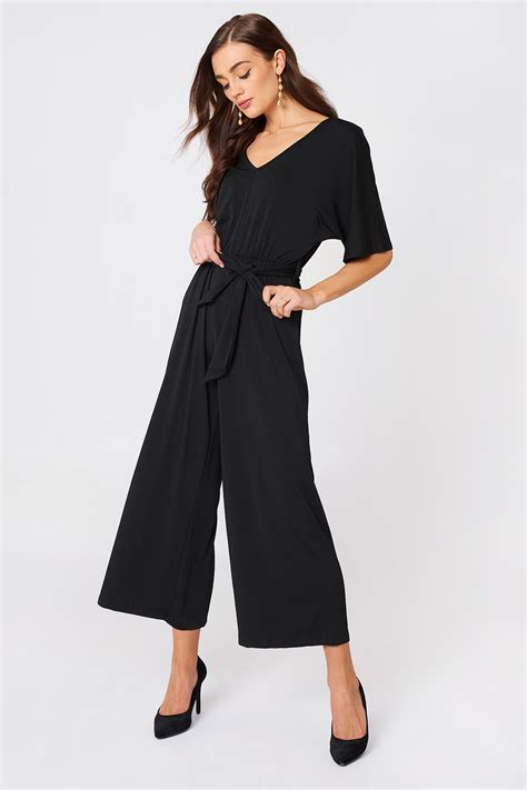 v neck wide sleeve jumpsuit black na kd