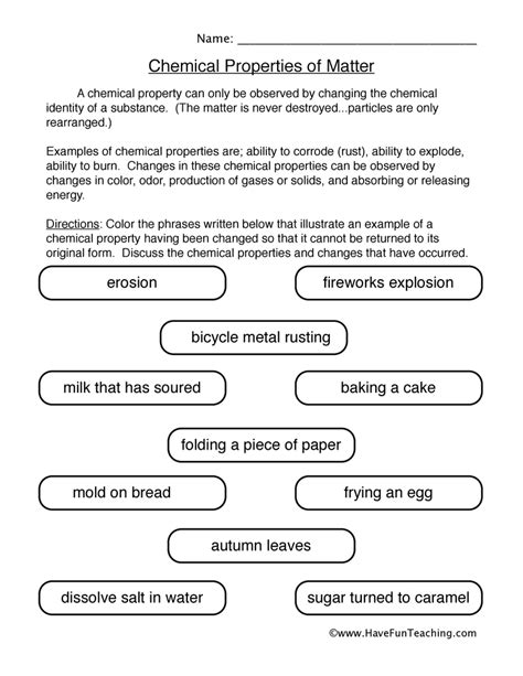 Physical And Chemical Changes Worksheet 4th Grade by Physical And Chemical Properties Of Matter Worksheet