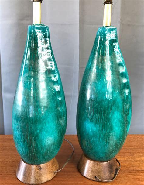 pair of marcello fantoni turquoise ceramic table ls