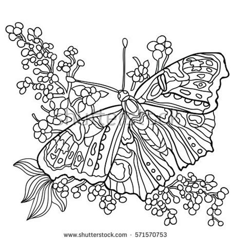 coloring pages butterfly garden butterfly coloring book adult older children stock vector