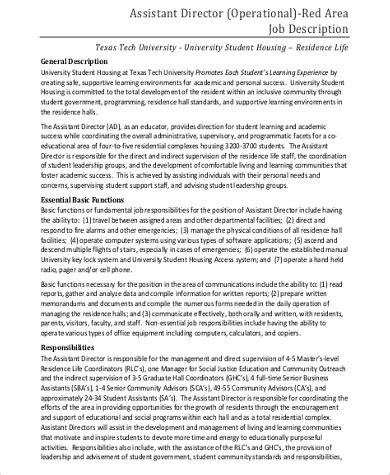 operations director description operations director description sle 10 exles