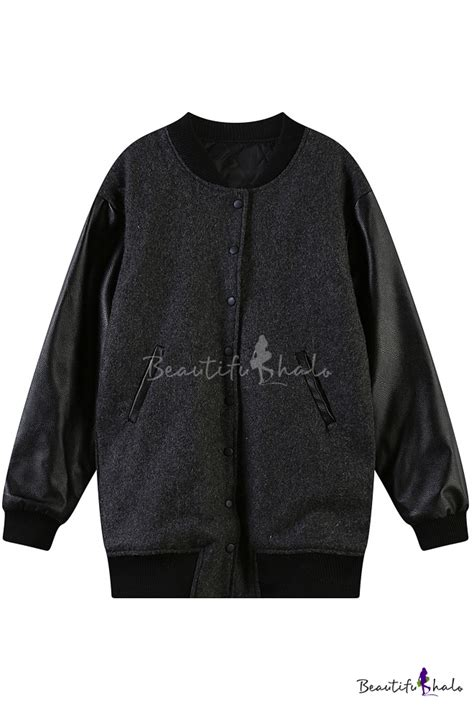 Letter Embroidered Jacket letter embroidered baseball jacket with pu sleeve