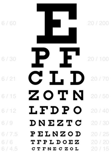 printable eye chart letter size 7 best images of printable snellen charts actual size