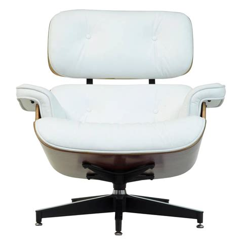 Eames Lounge Chair White Leather by Eames White Leather Lounge Chair And Ottoman At 1stdibs