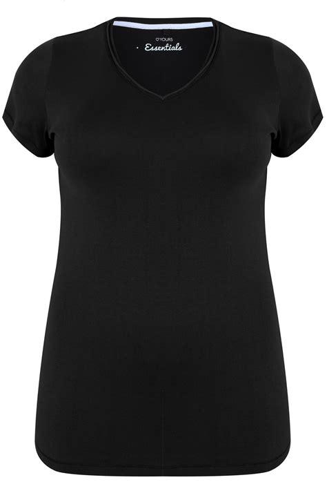 t shirt basique noir avec col en v taille 44 224 64
