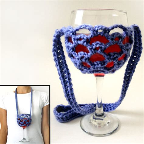 pattern for wine glass holder necklace lanyard wine glass holder pdf crochet pattern instant