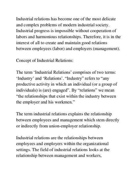 Industrial Relations Notes For Mba Students by Industrial Relations Mba