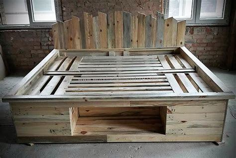 pallet bed with storage repurposed pallets bed frame with storage option wood pallet furniture