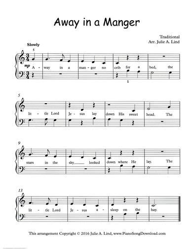 printable lyrics for away in a manger away in a manger free printable christmas piano sheet