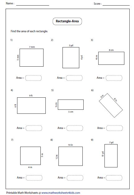area printable sheets rectangle worksheets