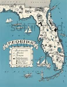 florida vintage map map high res digital