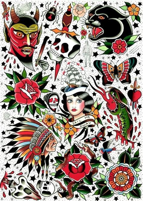 old traditional tattoo designs flash of the day flower search and design