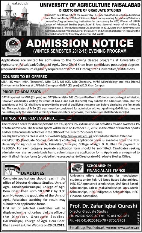 Mba Admission In Pakistan by Admission In Mba In Of Agriculture Faisalabad