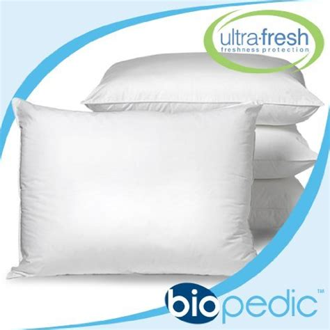 standard bed pillow size biopedic ultrafresh anti bacterial 4 pack bed pillows standard size white
