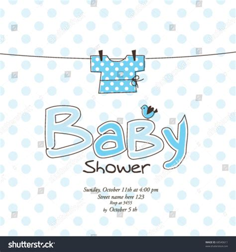 baby shower card template baby shower card template stock vector 68540611