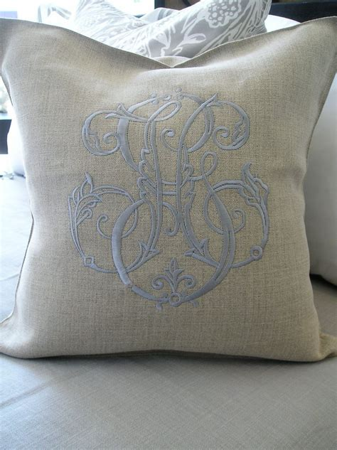 monogrammed bed pillows periwinkle monogram on flax linen pillow for our home