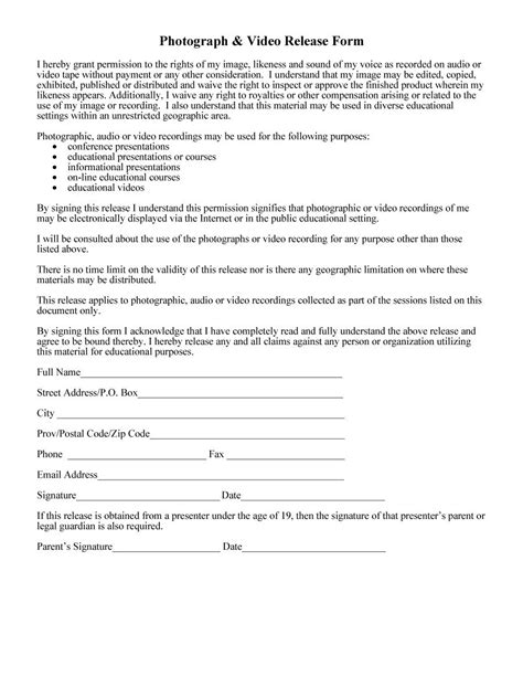 release form template 53 free photo release form templates word pdf